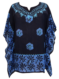 eaonplus Black/Blue Tie-Dye Batik Print Kaftan Tunic Top - Plus Size 16 to 20