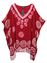 eaonplus Dark RED Embroidered V-Neck Batik Print Kaftan Tunic Top - Plus Size 16 to 34