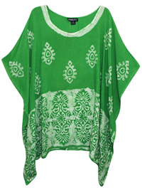 eaonplus LIGHT-GREEN Contrast Batik Print Kaftan Tunic Top - Plus Size 16 to 34