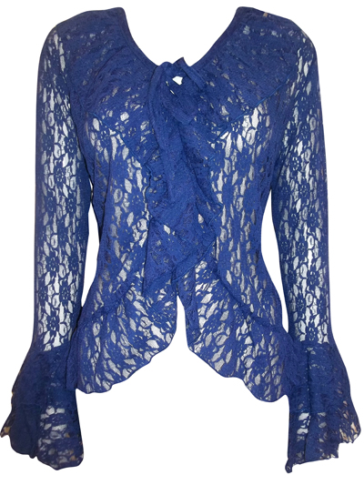 eaonplus BLUE Floral Lace Bell Sleeve Cover-Up Cardigan Top - Plus Size 18 to 32