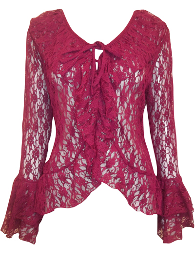 eaonplus PLUM-RED Floral Lace Bell Sleeve Cover-Up Cardigan Top - Plus Size 18 to 32