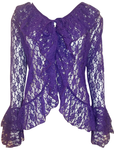 eaonplus PURPLE Floral Lace Bell Sleeve Cover-Up Cardigan Top - Plus Size 18 to 32