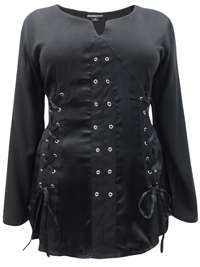 eaonplus BLACK Pirate Queen Goth Grommet Blouse - Plus Size 18 to 32