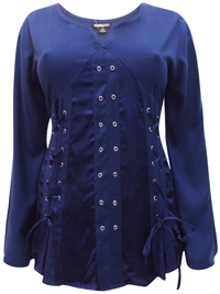 eaonplus NAVY Pirate Queen Goth Grommet Blouse - Plus Size 18 to 32