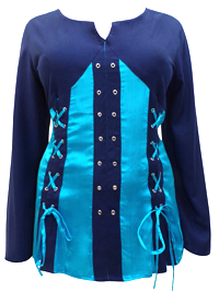 eaonplus TURQUOISE-NAVY Pirate Queen Goth Grommet Blouse - Plus Size 18 to 32