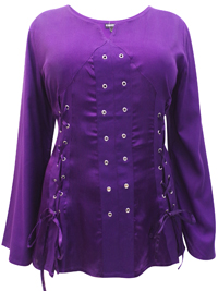 eaonplus PURPLE Pirate Queen Goth Grommet Blouse - Plus Size 18 to 32