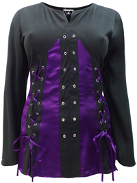 eaonplus PURPLE-BLACK Pirate Queen Goth Grommet Blouse - Plus Size 18 to 32