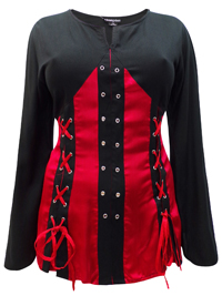 eaonplus RED-BLACK Pirate Queen Goth Grommet Blouse - Plus Size 18 to 32