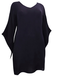 eaonplus BLACK Crinkle Viscose Elvira Tunic Top - Plus Size 18/20 to 30/32