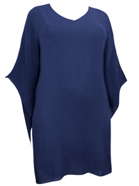 eaonplus NAVY Crinkle Viscose Elvira Tunic Top - Plus Size 18/20 to 30/32