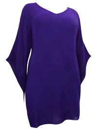 eaonplus PURPLE Crinkle Viscose Elvira Tunic Top - Plus Size 18/20 to 30/32