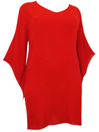 eaonplus RED Crinkle Viscose Elvira Tunic Top - Plus Size 18/20 to 30/32