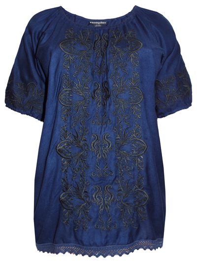 eaonplus NAVY Contrast Embroidered Gypsy Blouse - Plus Size 18/20 to 30/32