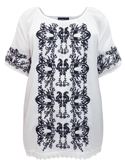 eaonplus WHITE Contrast Embroidered Gypsy Blouse - Plus Size 18/20 to 30/32
