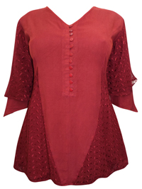 eaonplus PLUM-RED Broderie Anglaise Rayon Tunic Top - Plus Size 18 to 32