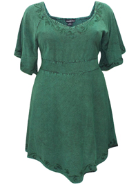eaonplus Gem GREEN Medieval Embroidered Blouse - Plus Size 18/20 to 30/32