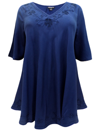 eaonplus INK-BLUE Embroidered Trim Curved Hem Blouse - Plus Size 18 to 32