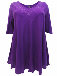 eaonplus PURPLE Embroidered Trim Curved Hem Blouse - Plus Size 18 to 32