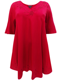 eaonplus RED Embroidered Trim Curved Hem Blouse - Plus Size 18 to 32