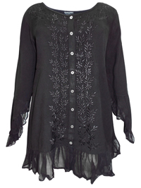eaonplus BLACK Enchanted Pixie Embroidered Blouse - Plus Size 18/20 to 30/32