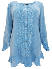 eaonplus  Chambray DENIM Enchanted Pixie Embroidered Blouse - Plus Size 18/20 to 30/32
