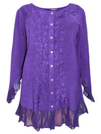 eaonplus PURPLE Enchanted Pixie Embroidered Blouse - Plus Size 18/20 to 30/32
