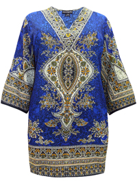 eaonplus BLUE Indie Border Print Dashiki Kaftan Tunic Top - Plus Size 18 to 34