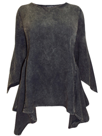 eaonplus BLACK Acid Wash Mythical Ways Pixie Sleeve Tunic - Plus Size 18/20 to 30/32