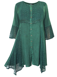 eaonplus JEWEL GREEN Embroidered Lace Bell Sleeve Renaissance Capulet Tunic - Plus Size 18/20 to 30/32