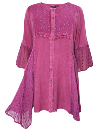 eaonplus RASPBERRY Embroidered Lace Bell Sleeve Renaissance Capulet Tunic - Plus Size 18/20 to 30/32
