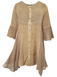 eaonplus STONE Embroidered Lace Bell Sleeve Renaissance Capulet Tunic - Plus Size 18/20 to 30/32