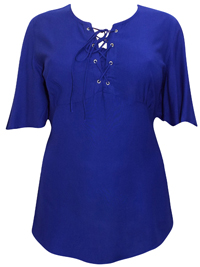 eaonplus BLUE Short Sleeve Lace Up Top - Plus Size 18/20 to 30/32