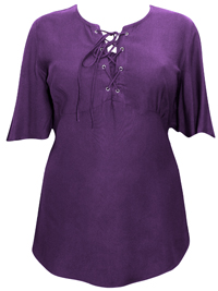 eaonplus PURPLE Short Sleeve Lace Up Top - Plus Size 18/20 to 30/32