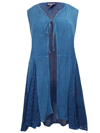 eaonplus ANTIQUE-BLUE Embroidered Panelled Sleeveless Duster Jacket - Plus Size 18/20 to 30/32