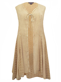 eaonplus ANTIQUE-CREAM Embroidered Panelled Sleeveless Duster Jacket - Plus Size 18/20 to 30/32