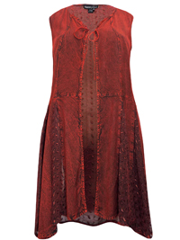 eaonplus ANTIQUE-RED Embroidered Panelled Sleeveless Duster Jacket - Plus Size 18/20 to 30/32