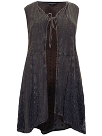 eaonplus BLACK Embroidered Panelled Sleeveless Duster Jacket - Plus Size 18/20 to 30/32
