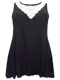 eaonplus BLACK Sleeveless Crochet Lace Tunic - Plus Size 18 to 36
