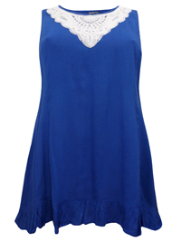 eaonplus COBALT Sleeveless Crochet Lace Tunic - Plus Size 18 to 36