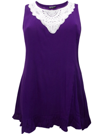 eaonplus PURPLE Sleeveless Crochet Lace Tunic - Plus Size 18 to 36
