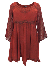 Eaonplus DARK RED Empire Renaissance Embroidered Tunic - Plus Size 18 to 32