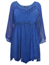 Eaonplus INDIGO Empire Renaissance Embroidered Tunic - Plus Size 18 to 32