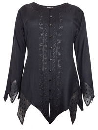 eaonplus BLACK Renaissance Gothic Zigzag Tunic Top - Plus Size 18 to 32