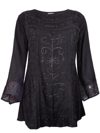 eaonplus BLACK Egyptian Renaissance Gothic Tunic - Plus Size 18 to 32