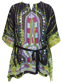 eaonplus BLACK Batik & Tie Dye Print Cover Up Kaftan - Size M/L to XXL (66in & 76in Bust)