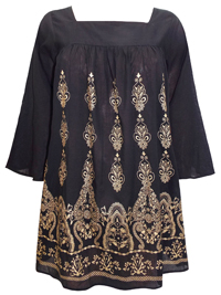 eaonplus BLACK Flute Sleeve Gold Foil Print Tunic Blouse - Plus Size 18/20 to 30/32