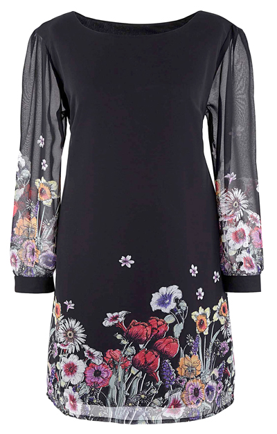 d3c2316eede Plus Size wholesale clothing by simply be - - Ava Black Floral Border Print  Chiffon Tunic Dress - Size 12
