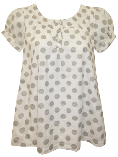 D3benhams Girls White Sparkly Silver Spotted Pure Cotton Smock Top - Age 4yrs to 12yrs