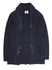 East3x BLACK Open Front Embroidered Cardigan with Wool - Size 10 and 12