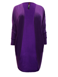 Ivans PURPLE Cocoon Open Front Jersey Cardigan - Plus Size 16 to 30/32